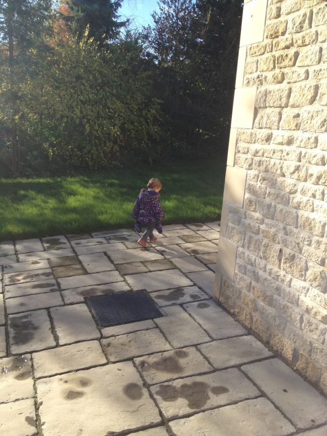 Toddler in garden in Bath