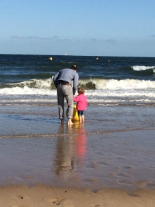 Daddy and toddler at the sea