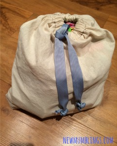 Homemade drawstring bag