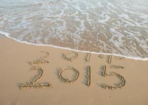 Hello 2015 beach scene